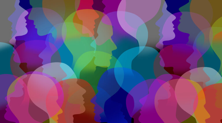 Abstract people brightly colored